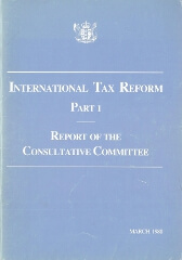 Publication cover with New Zealand coat of arms, Title - International tax reform - Part 1 - Report of the Consultative Committee, Publication date - March 1988