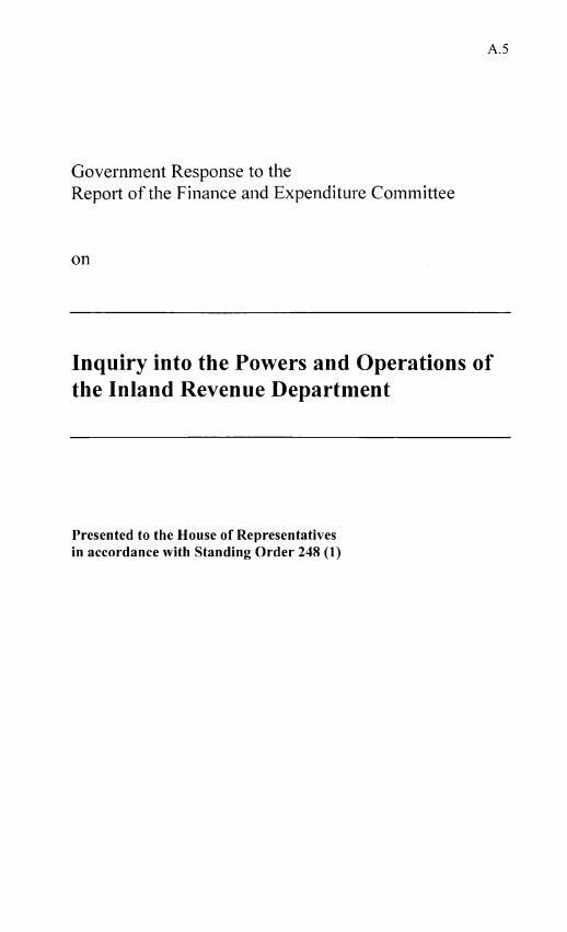 Publication cover page with title: Government response to the report of the Finance and Expenditure Committee on the Inquiry into the powers and operations of the Inland Revenue Department